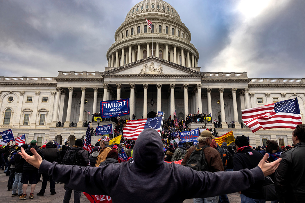 Photograph: Pro-Trump protesters gather in front of the U.S. Capitol Building on January 6, 2021 in Washington, DC  Source: Getty