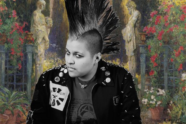 A punk with a mohawk in a cottagecore painting