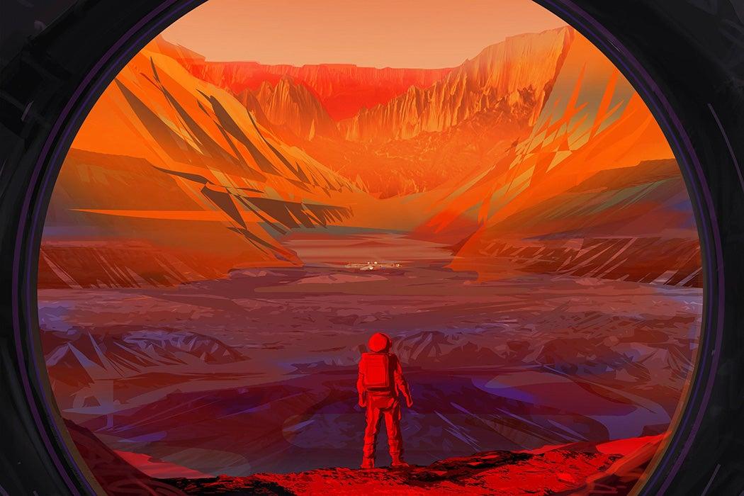 An artist concept of a NASA astronaut on Mars