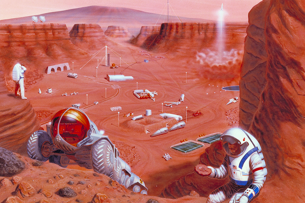 An artist concept of possible exploration of the surface of Mars.
