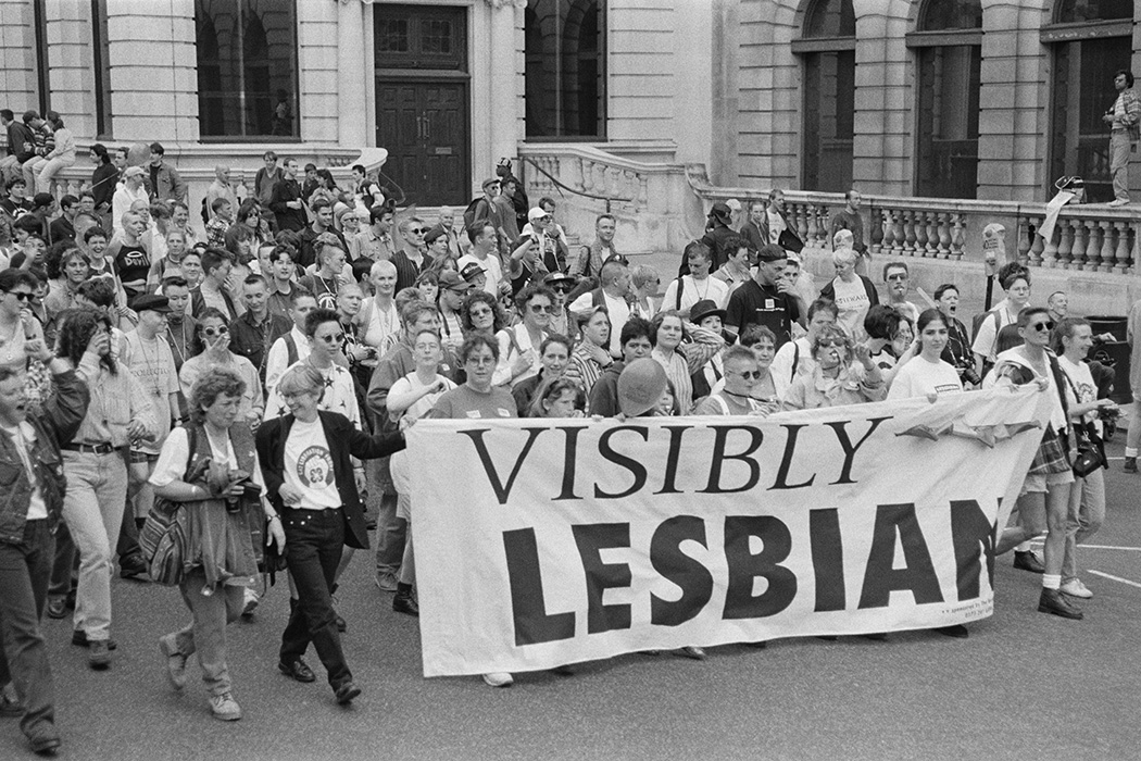 Photograph: Marchers carrying a banner with the words 'Visibly Lesbian'  Source: Steve Eason/Getty