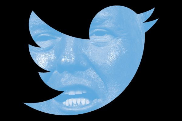 Donald Trump's face in the shape of the Twitter logo