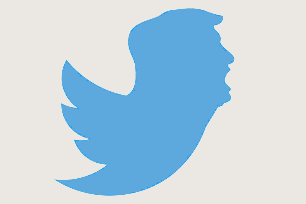 A twitter logo with the head of Donald Trump