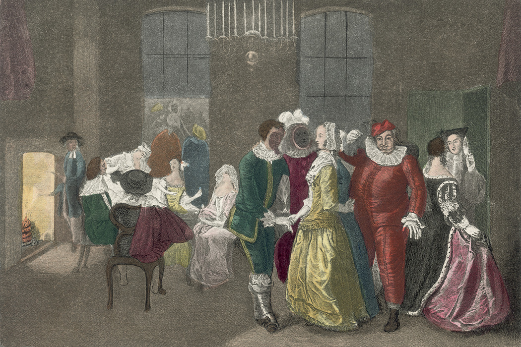 Revellers at a masked ball