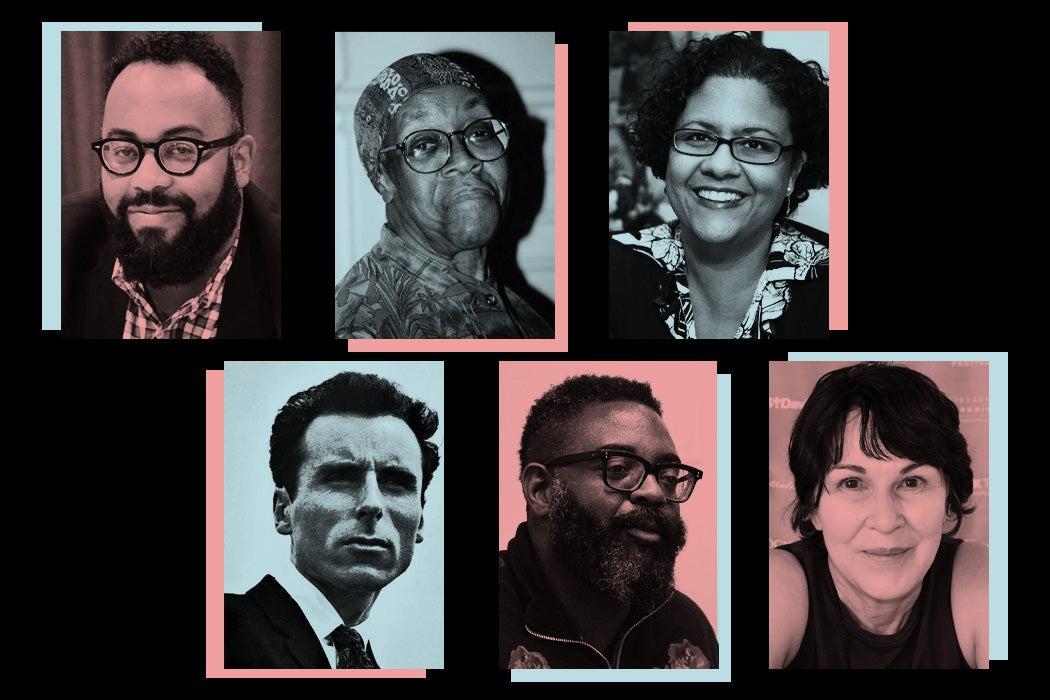 Clockwise: Kevin Young, Gwendolyn Brooks, Elizabeth Alexander, Mary Jo Bang, Reginald Dwayne Betts, Jack Gilbert