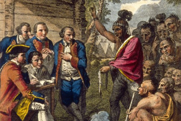 Pontiac, an Ottawa Indian, confronts Colonel Henry Bouquet who authorised his officers to spread smallpox amongst native Americans by deliberately infecting blankets after peace talks in 1764