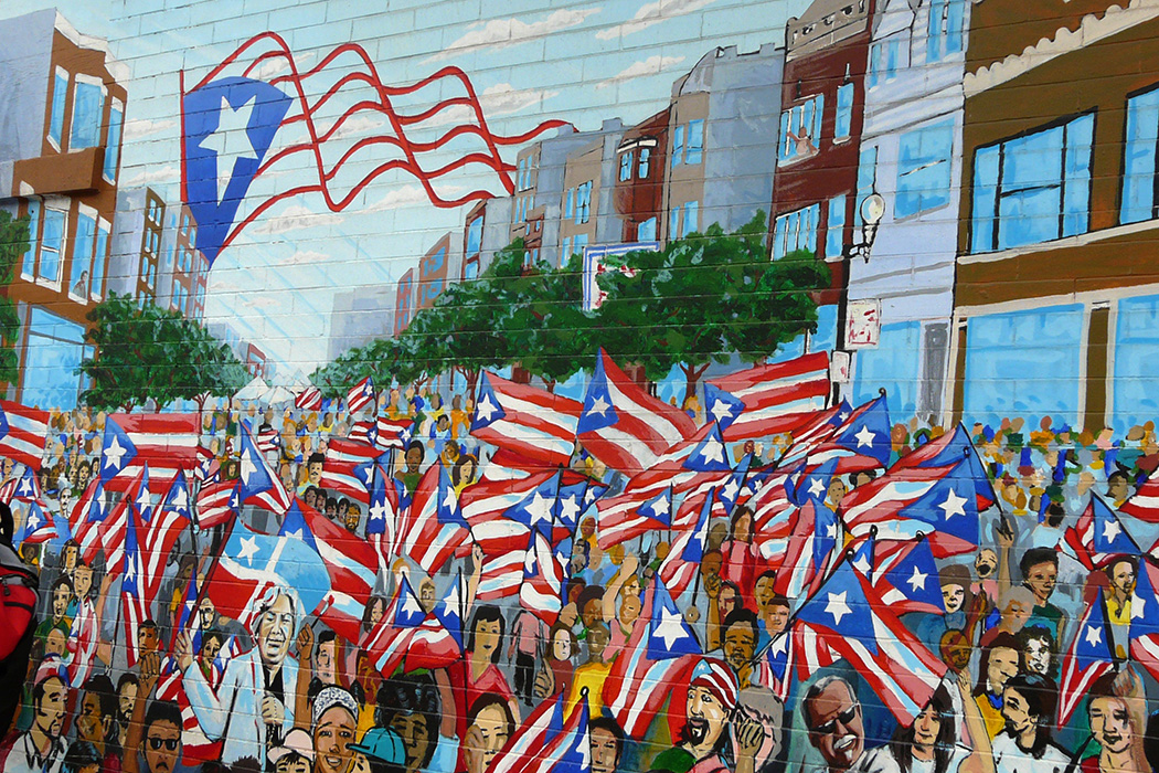 A mural in Paseo Boricua on Division Street in Chicago