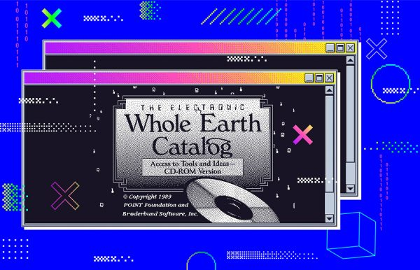 An illustration of the Whole Earth Catalog over a 90s computer graphic