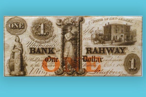 1 Dollar, Farmers' and Mechanics' Bank of Rahway, New Jersey, 1850