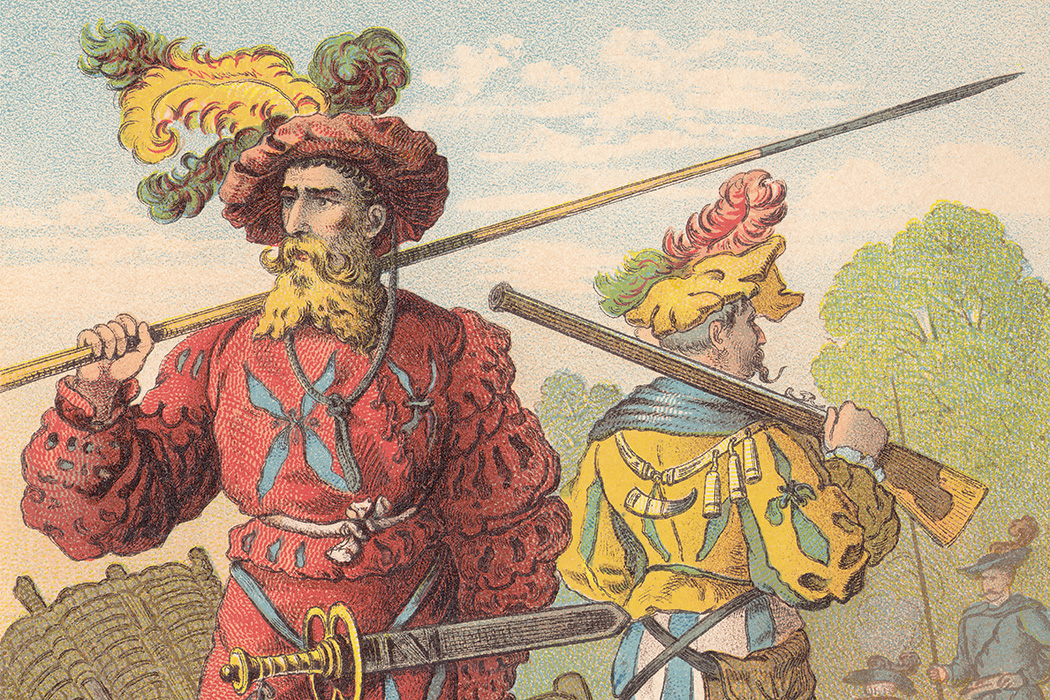 Lansquenets - mercenary soldiers under emperor Maximilian I, c. 1600. Lithograph, published in 1887.