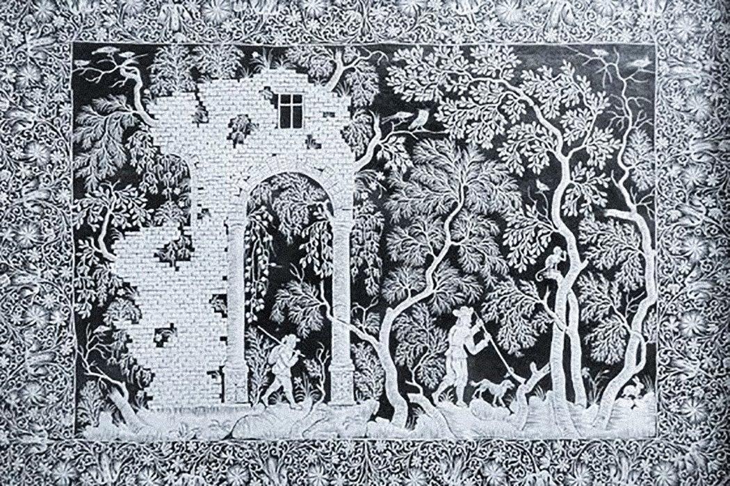 Intricate Paper cutting of a hunting scene by Dutch artist Joanna Koerten