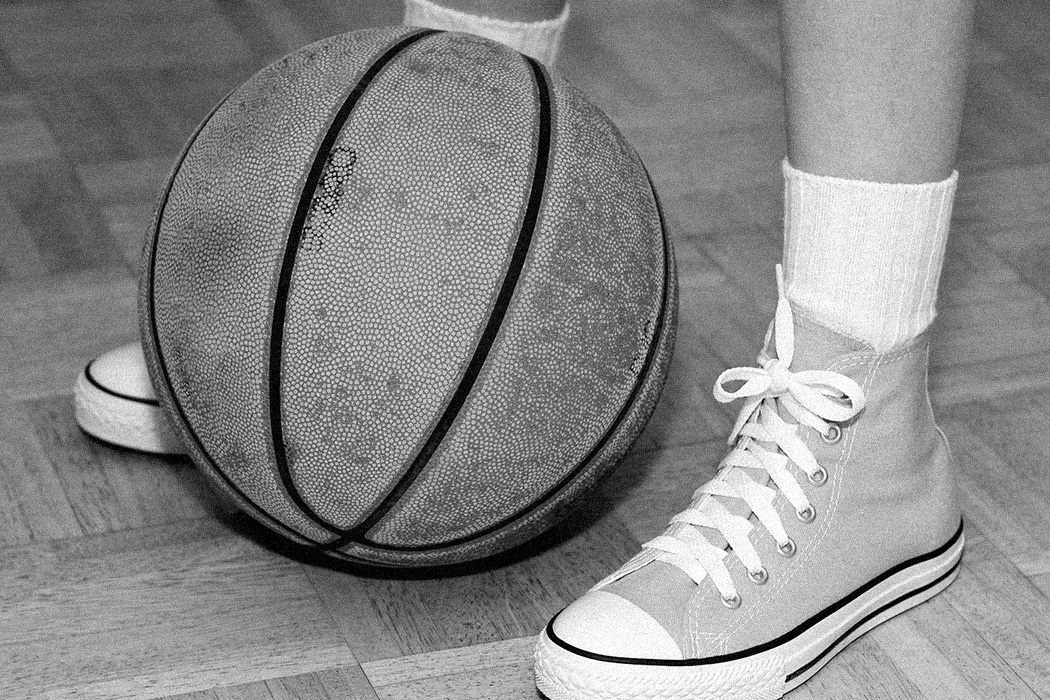 Close up of a basketball players feet