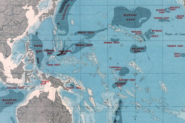 Bathymetrical Chart of the Oceans showing the Deeps According to Sir John Murray, 1912