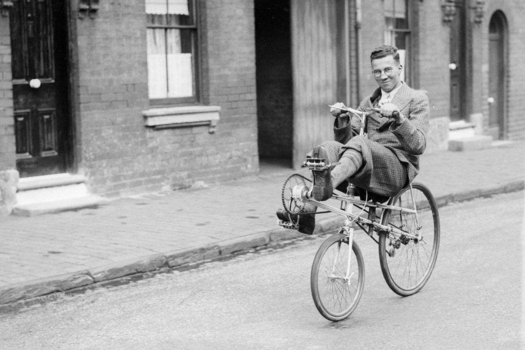A recumbent bicycle in 1935