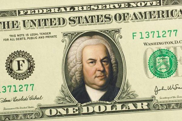 A dollar bill with a portrait of Bach