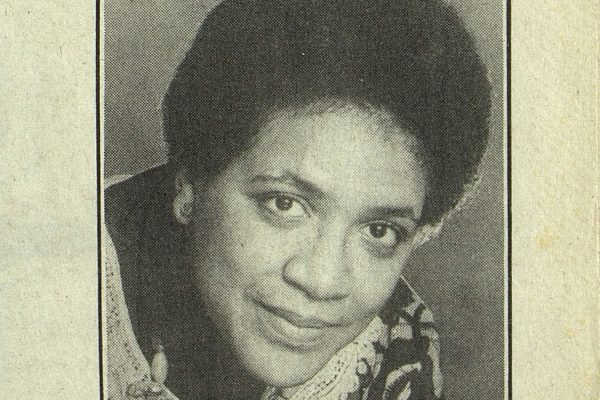 A portrait of Audre Lorde from the cover of the July/August 1988 issue of WomaNews