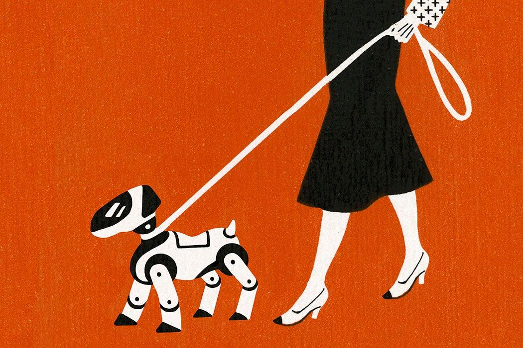 Woman walking a robot on a leash