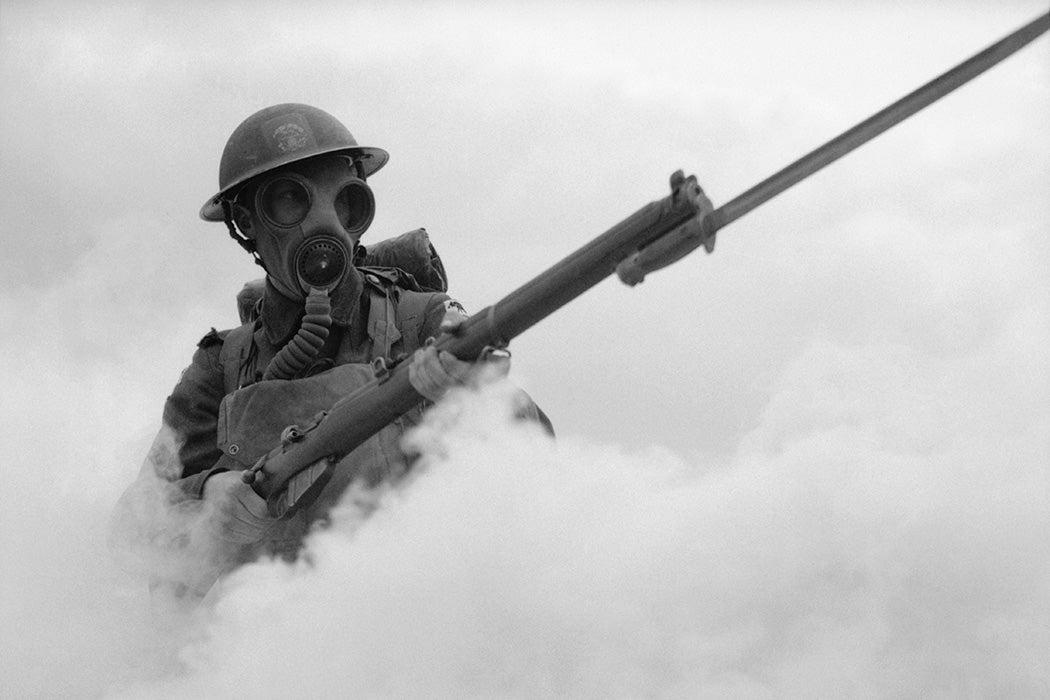 A British soldier training in 1941