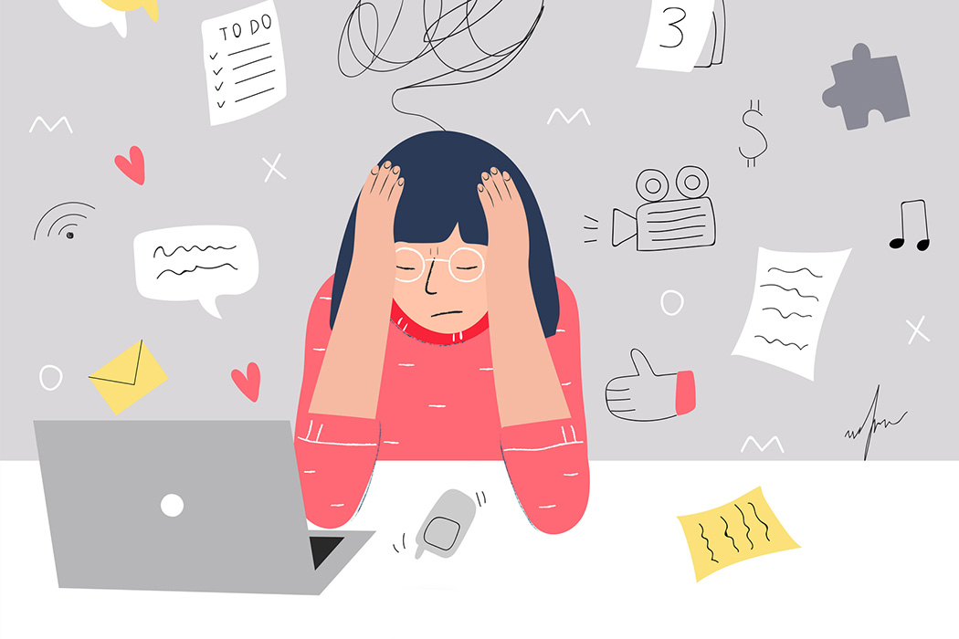 An illustration of a woman experiencing information overload