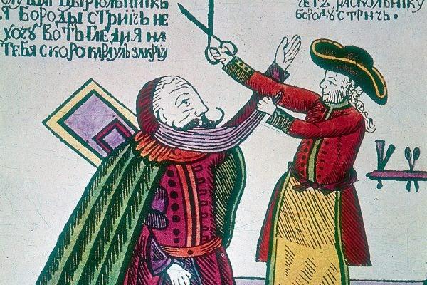 Peter the Great cutting a Boyar's beard