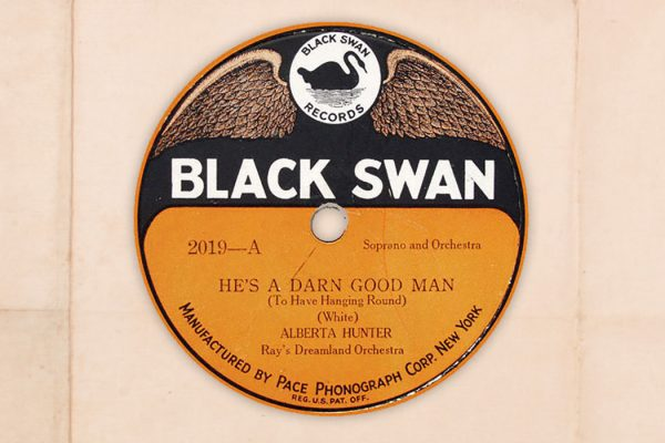 Black Swan record label of Alberta Hunter recording, 1921.