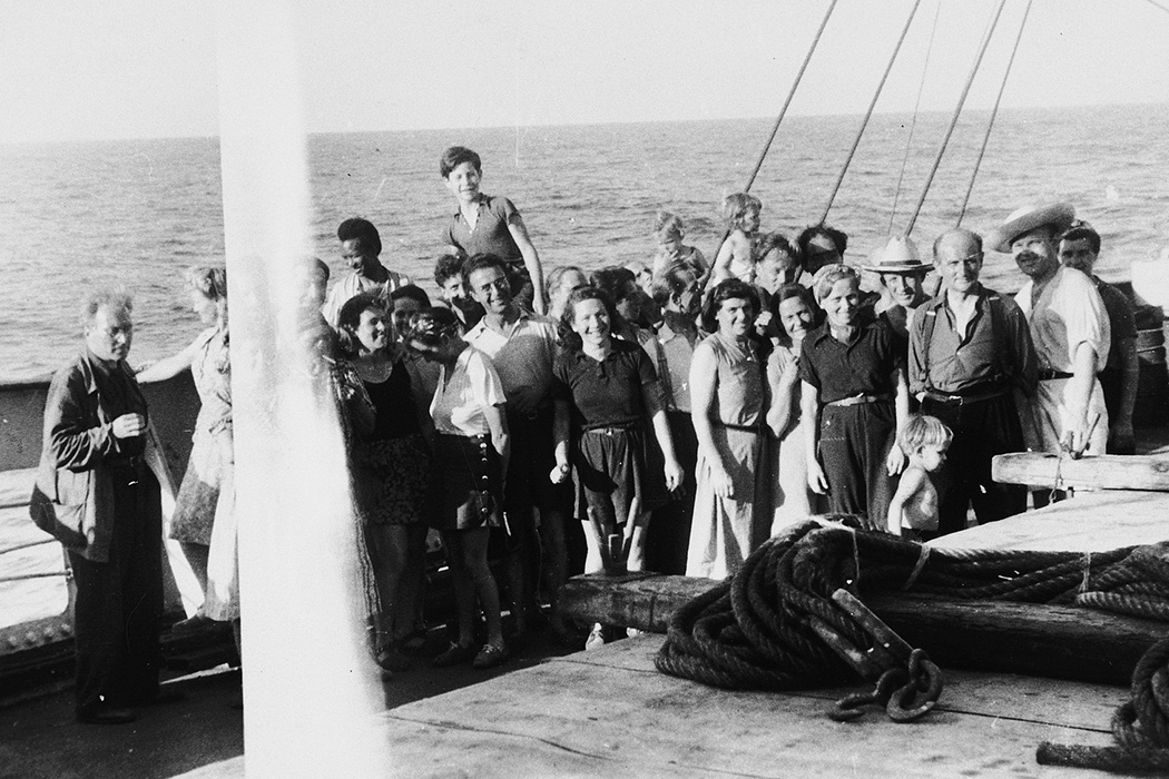 Group portrait of European refugees saved by the Emergency Rescue Committee on board the Paul-Lemerle, a converted cargo ship sailing from Marseilles to Martinique