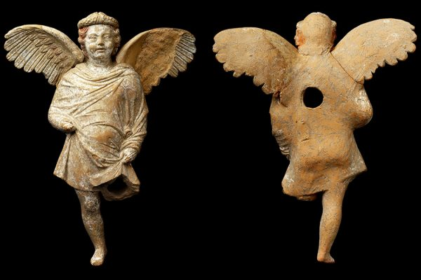 Figurine: The Eros terracotta figurine from Tel Kedesh, front and back views   Source: P. Lanyi; courtesy Sharon Herbert and Andrea Berlin, Tel Kedesh Excavations.