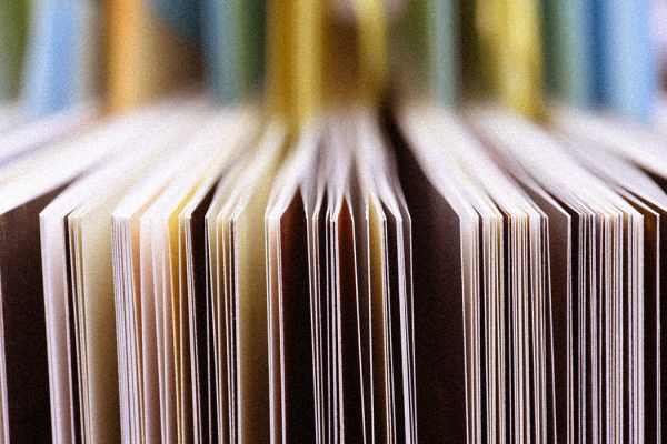Closeup of the edge of open book pages
