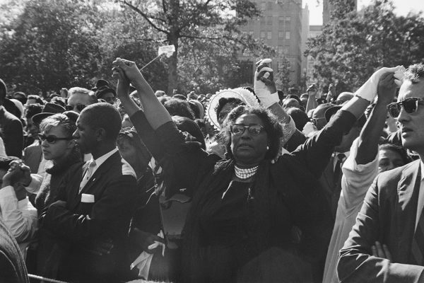 People holding hands at a civil rights demonstration in Washington, DC, in the aftermath of the 16th Street Baptist Church bombing in Birmingham, Alabama, September 1963.