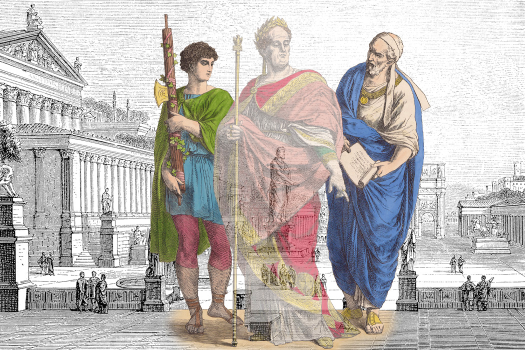 A disappearing Roman emperor with a lictor (left) and nobleman (right)
