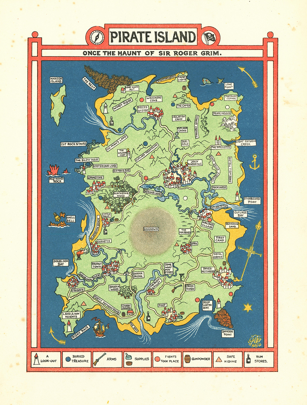 924 fantasy pictorial map - Pirate Island