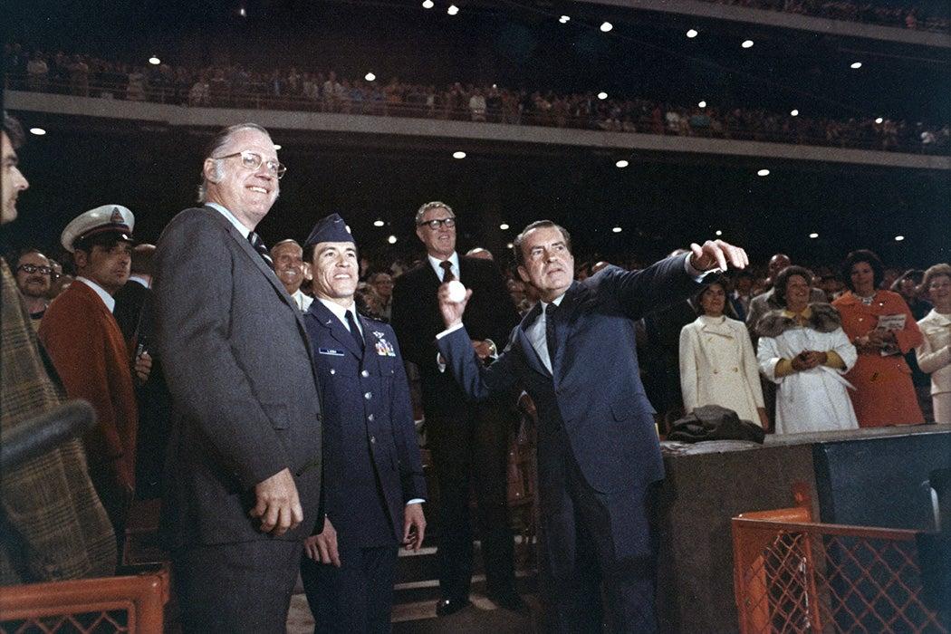 President Richard Nixon Starting the 1973 American League Season by Tossing a Baseball