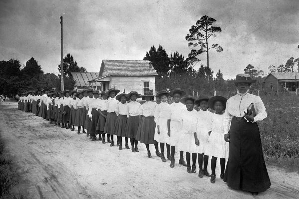 Mary McLeod Bethune with a Line of Girls from her School in Daytona Beach, Florida, 1905