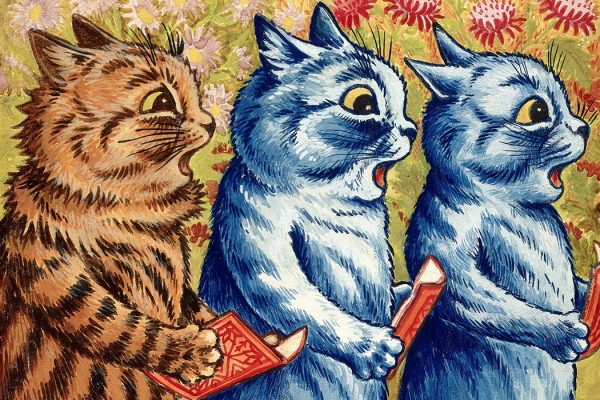 Three cats singing by Louis Wain