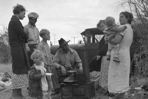 Along the highway near Bakersfield, California. Dust bowl refugees by Dorothea Lange