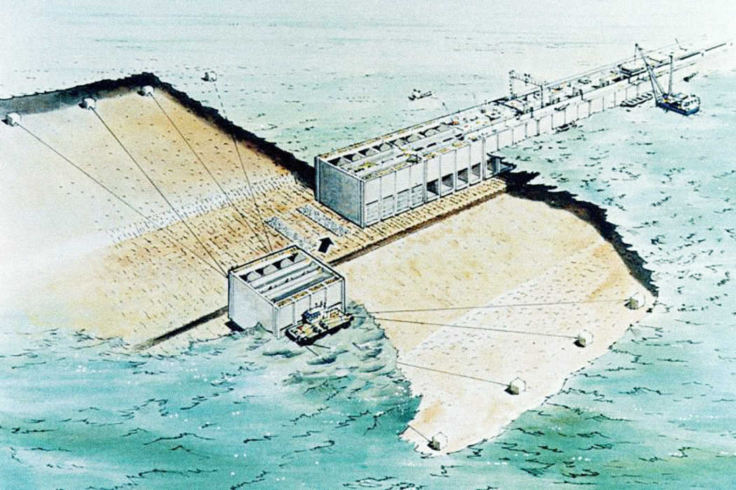 Construction method from the Severn Barrage from the English coast to the Welsh coast