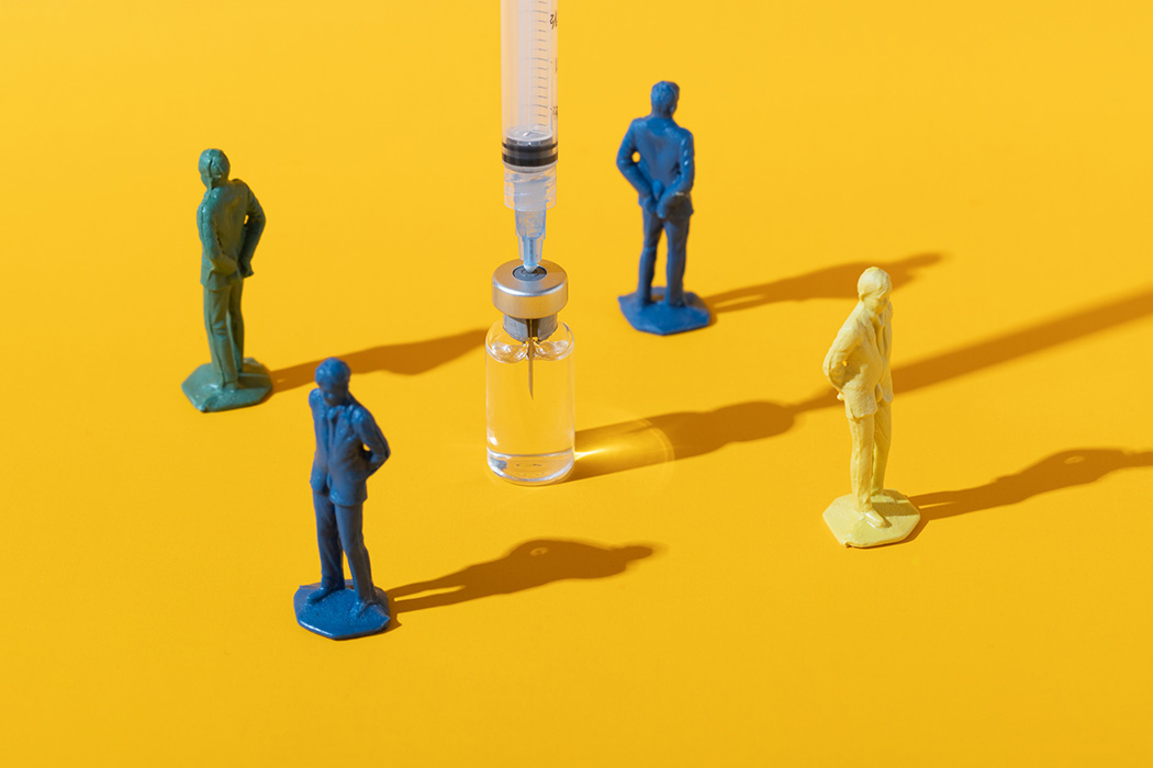 Concept image of people rejecting a vaccine injection