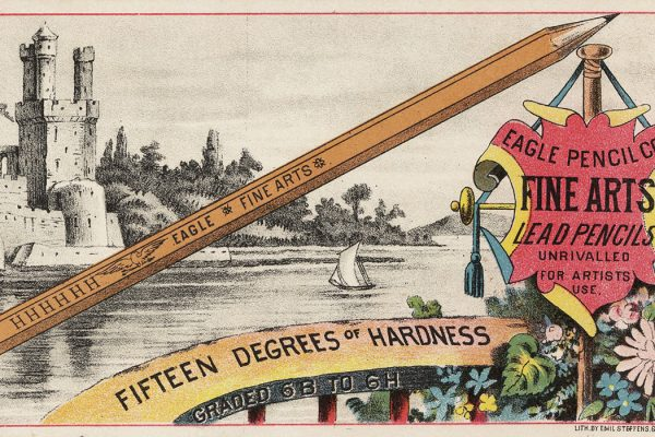 An advertisement for Eagle Pencil Co's fine arts lead pencils, c. 1870-1900