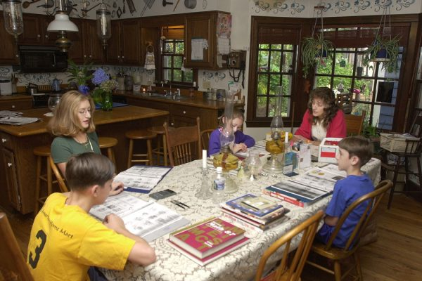 A home schooling session gets underway at the Sloggy household September 14, 2000 in Fayetteville, NC.