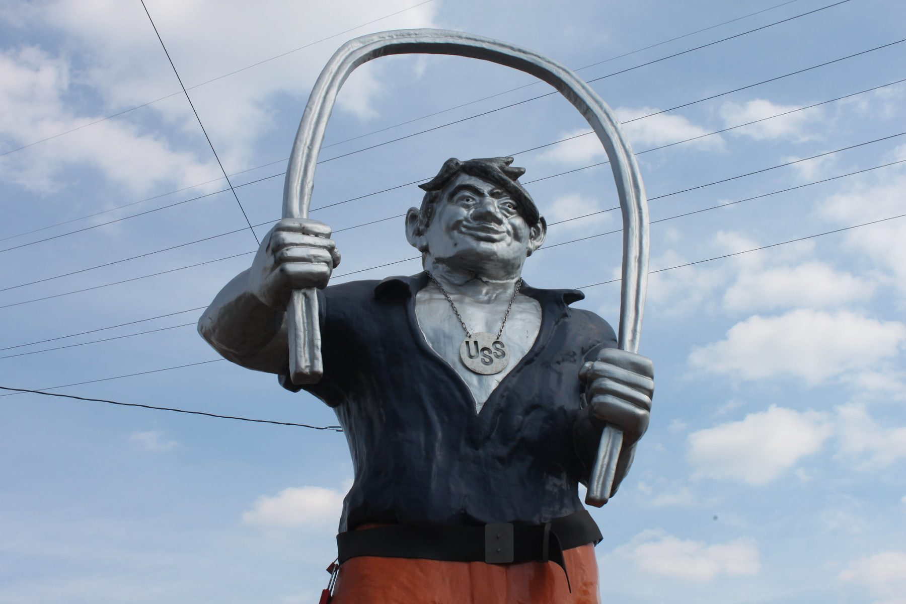 This statue in front of US Steel's Edgar Thomson Works in Braddock, PA depicts Joe Magarac, a mythical steelworker deriving from local legend.