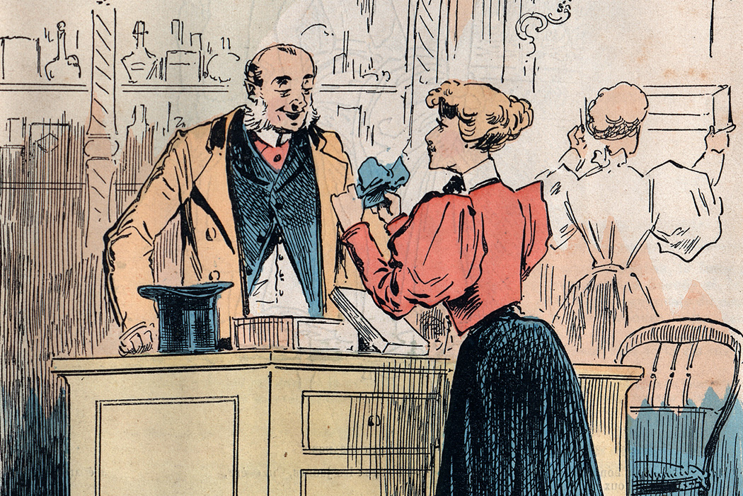 Man buying garters from a female shop assistant