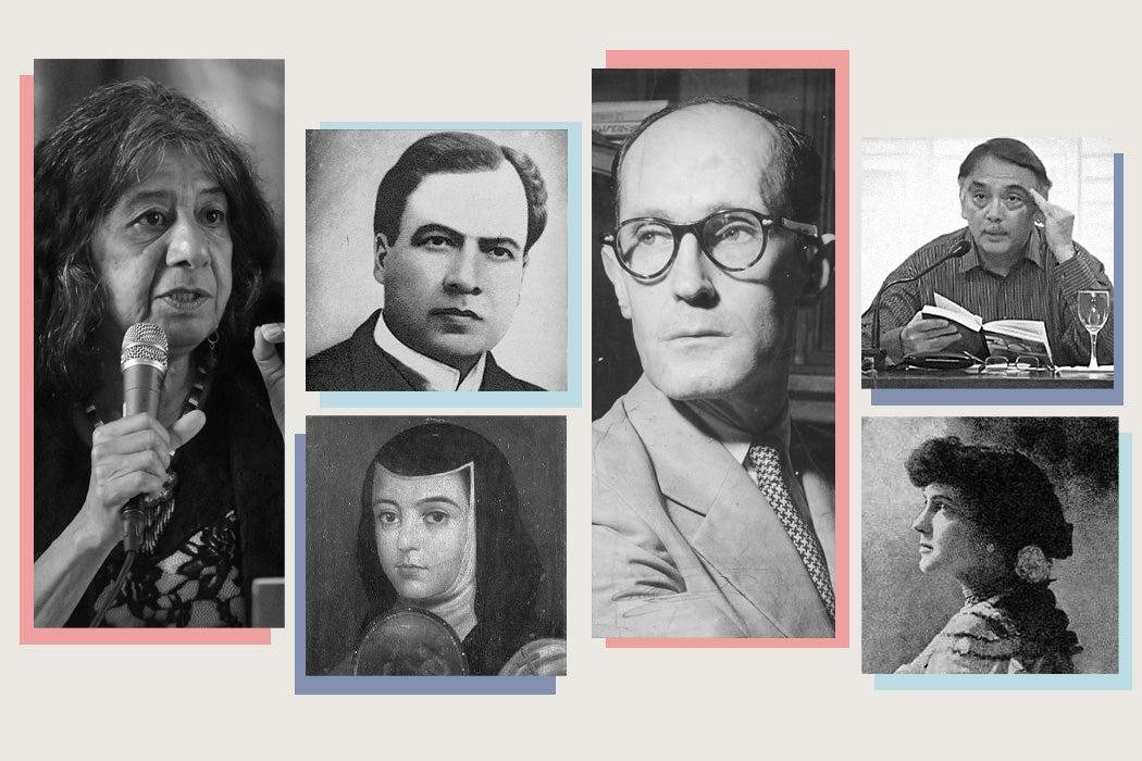 From left to right: Lorna Dee Cervantes, Rubén Darío, Sor Juana Inés de la Cruz, Carlos Drummond de Andrade, Eugenio Montejo, Delmira Agustini