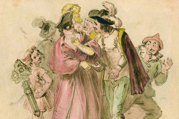 A drawing of a masquerade from the late 18th century or 19th century by John Massey Wright
