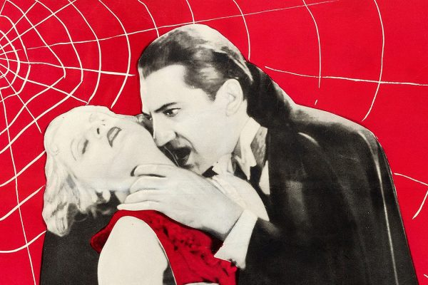Poster promoting a circa-1960s theatrical reissue of the 1931 film Dracula.