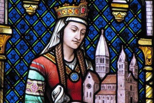 A stained glass window depicting Hildegard von Bingen at Église Sainte-Foy, Alsace