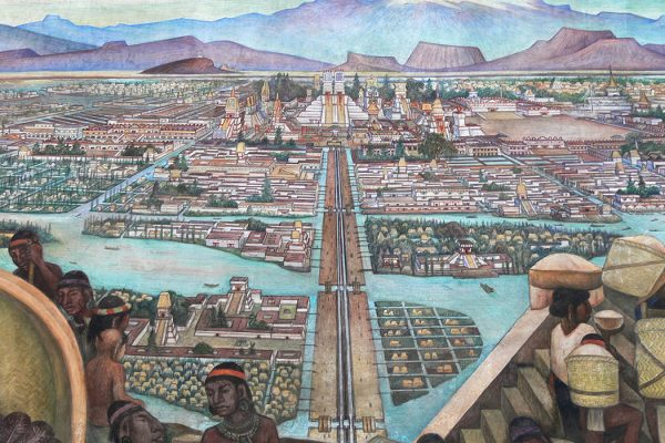 Mural by Diego Rivera of the Aztec city of Tenochtitlan and life in Aztec times, 1945