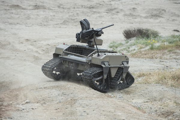A unmanned vehicle, part of the Multi-Utility Tactical Transport (MUTT) family of systems, 2017