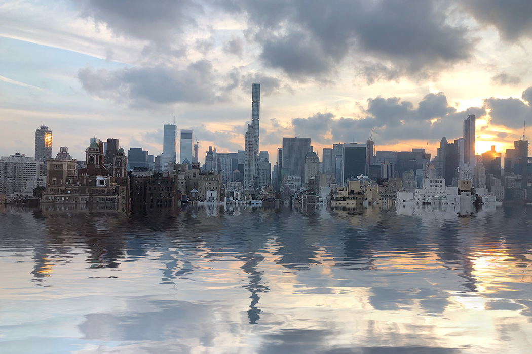 New York upper Eastside looking south flooded